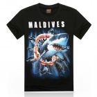 ROMAN 3D Printing Shark Design Cotton T-shirt - Black + Multicolor (Size XL)