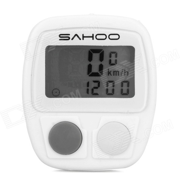 SAHOO 81489 Multi-Functional Wired Bicycle Stopwatch Bike Computer - White (1 x LR44)