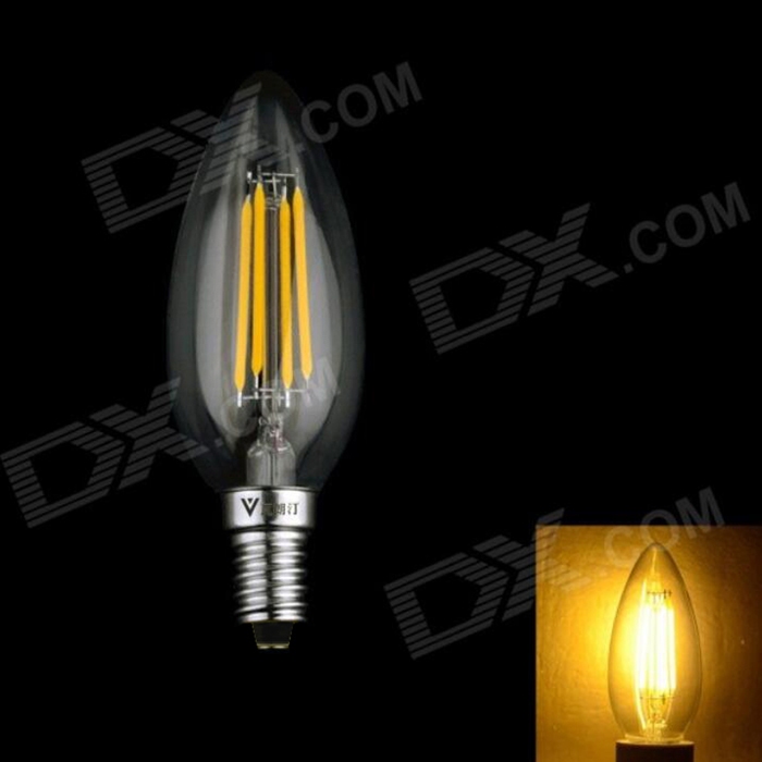 WaLangTing E14 4W 400lm 3200K Warm White 4-LED Filament Candle Bulb - Silver (160-240V) набор отверток 10 шт jonnesway d70pp10s