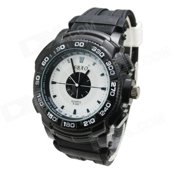 SBAO S-495 Men's Digital Dial PU Band Quartz Analog Watch - Black + White (1 x SR626SW) new 40mm parnis black dial ceramic bezel white markers sapphire glass auto date gmt automatic movement men s business watch