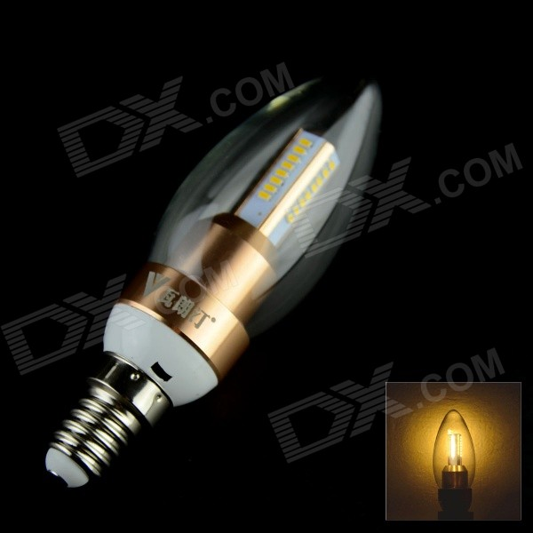 WaLangTing E14 4W 400lm 3000K 40-SMD LED Warm White Candle Bulb - Champagne Gold (80-260V)