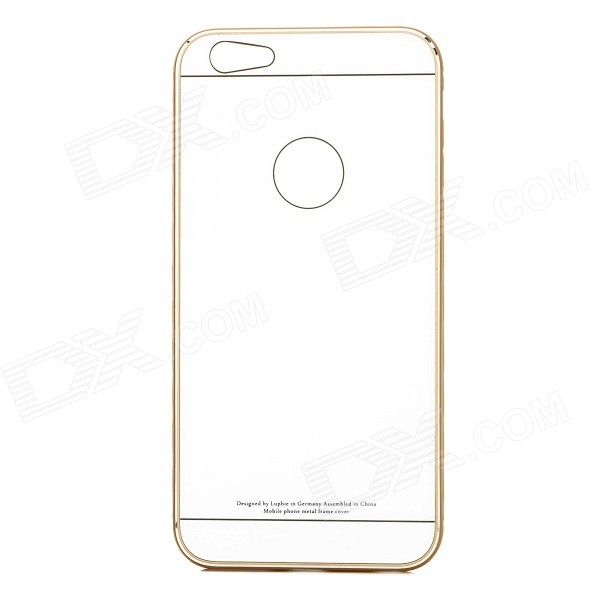 R-JUST Protective Aluminum Alloy + Tempered Glass Back Case for IPHONE 6 PLUS - White + Gold protective 9h tempered glass full screen guard protector back sticker for iphone 6 golden