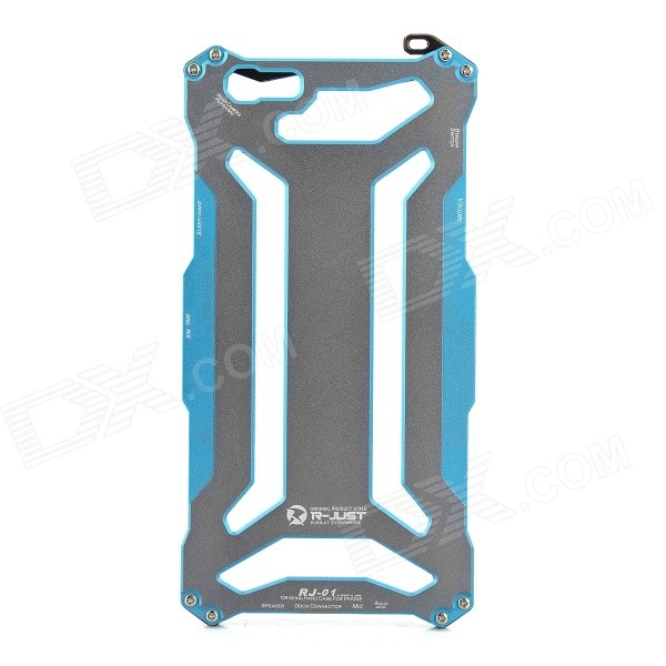 R-JUST protection aluminium Alloy Frame cas + Screen Guard Set pour l'IPHONE 6 PLUS - bleu + gris