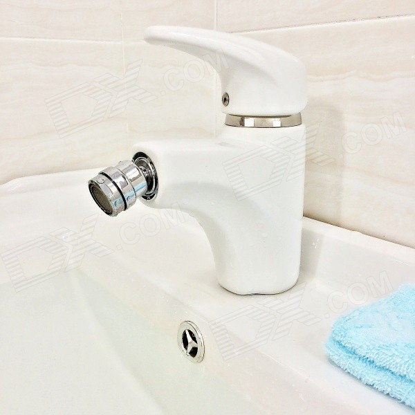 FOBOO B8123W One Hole Single Handle Glaze Finish Ceramic Basin Faucet - White