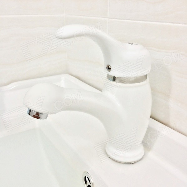 FOBOO 7103W One Hole Single Handle Glaze Finish Ceramic Basin Faucet - White