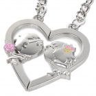 Loving Heart & Kiss Style Zinc Alloy Keyring / Key Chain for Lovers / Couples - Silver (Pair)