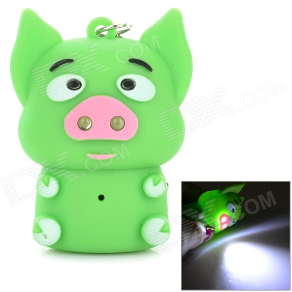 Cartoon Piggy Style 2-LED White Light Keychain w/ Sound Effect - Green (3 x AG10) dinosaur style led purple light keychain w sound effect green white 3 x ag10