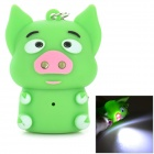 Cartoon Piggy Style 2-LED White Light Keychain w/ Sound Effect - Green (3 x AG10)