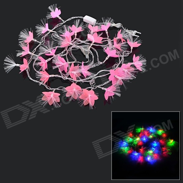 Flower Style 5W 65lm 28-LED RGB Optical Fiber Light String - Pink (AC 100~240V / 5m / EU Plug)