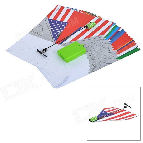 DIY 24 National Flag Patterns Electric Paper Airplane Module Toy - Multicolored diy electric paper airplane module toy black orange