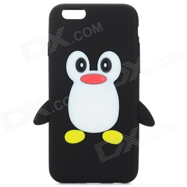Cute Penguin Style Protective Silicone Back Case for IPHONE 6 - Black + White cute 3d cartoon penguin style protective silicone soft back case for iphone 4 4s green white