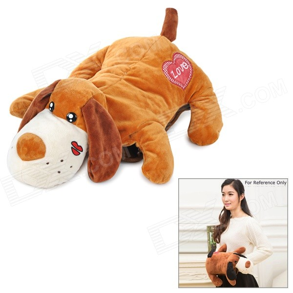 Cute Dog Style Safe Electric Hot-Water Bag / Hand Warmer - Brown (US Plug)
