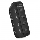 High Speed 480Mbps USB 2.0 4-Port USB HUB w/ Individual Switch / Indicator - Black