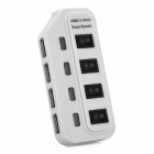 High Speed 480Mbps USB 2.0 4-Port USB HUB w/ Individual Switch / Indicator - White