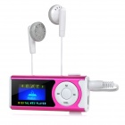 "1.0"" OLED Display MP3 Player w/ Torch / Clip / TF / Mini USB - Deep Pink + White"