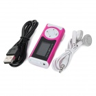 "1.0 Player ""Pantalla OLED MP3 w / antorcha / Clip / TF / Mini USB - de color rosa oscuro + blanco"