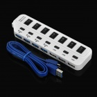 High Speed 4-Port USB 3.0 + 3-Port USB 2.0 Hub w/ Indiviual Switch / Indicator - White