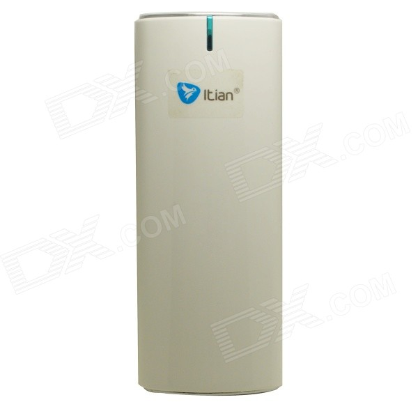 Itian Portable Hip-flask Style Dual USB Output 7800mAh Power Bank w/ LED Torch - White