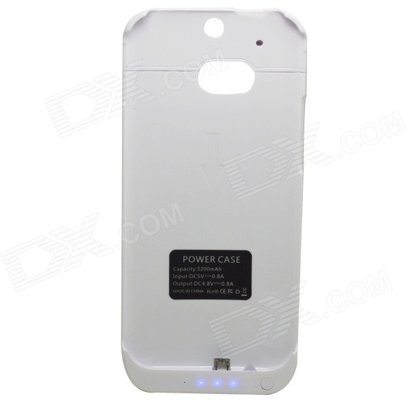 Itian 3000mAh Li-po Portable Battery Charger Power Back Case for HTC One M8 - White