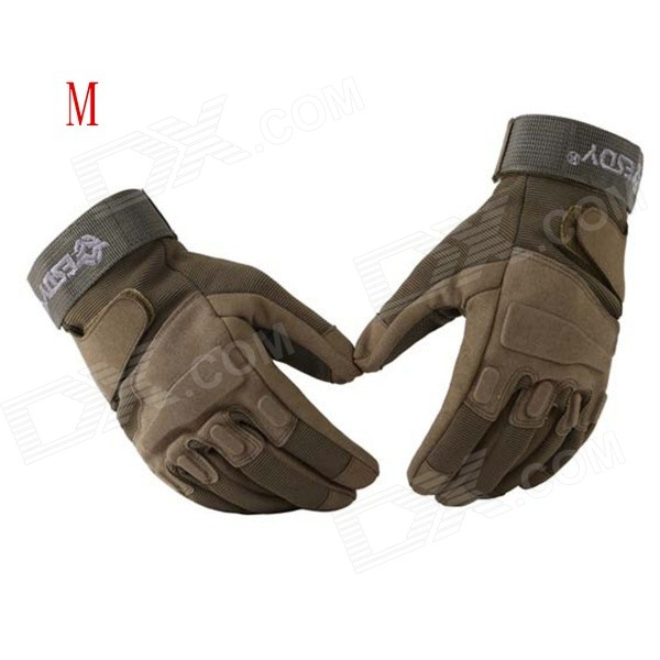 ESDY HYM-2 Outdoor Sports / Cycling / Hunting Full-Finger PU Tactical Gloves - Army Green (M / Pair) esdy esdym 3 outdoor cycling anti slip breathable full finger pu tactical gloves tan m
