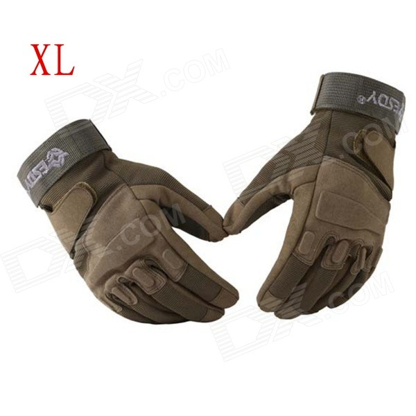 ESDY HYXL-2 Outdoor Sports Full-Finger PU Tactical Gloves - Army Green (XL / Pair) esdy esdym 3 outdoor cycling anti slip breathable full finger pu tactical gloves tan m