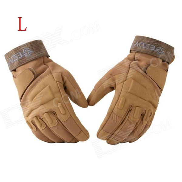 ESDY HYL-3 Outdoor Racing / Cycling / Airsoft Hunting Full-Finger Tactical Gloves - Tan (L / Pair) esdy esdym 3 outdoor cycling anti slip breathable full finger pu tactical gloves tan m