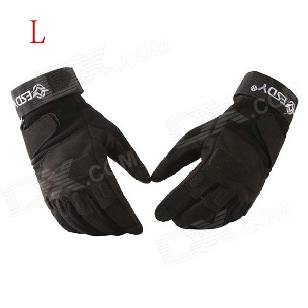 ESDY HYL-1 Anti-slip Outdoor Cycling Climbing Full-Finger PU Tactical Gloves - Black (L / Pair) esdy esdym 3 outdoor cycling anti slip breathable full finger pu tactical gloves tan m