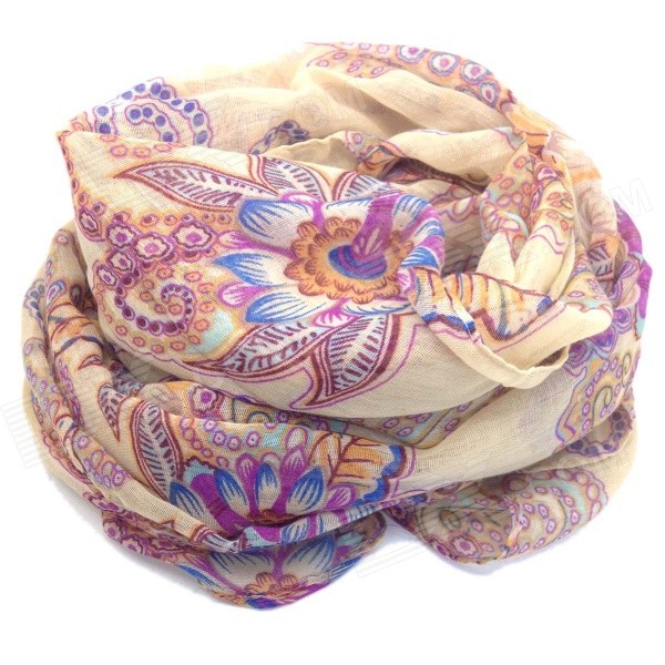 Women's Totem Pattern Fashionable Warm Soft Long Cotton Scarf Shawl - Beige + Deep Pink