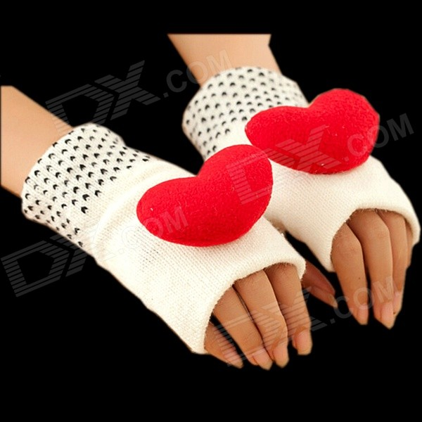 Women's Three-dimensional Red Heart Style Half-finger Wool Warm Gloves - White + Red  (Pair)
