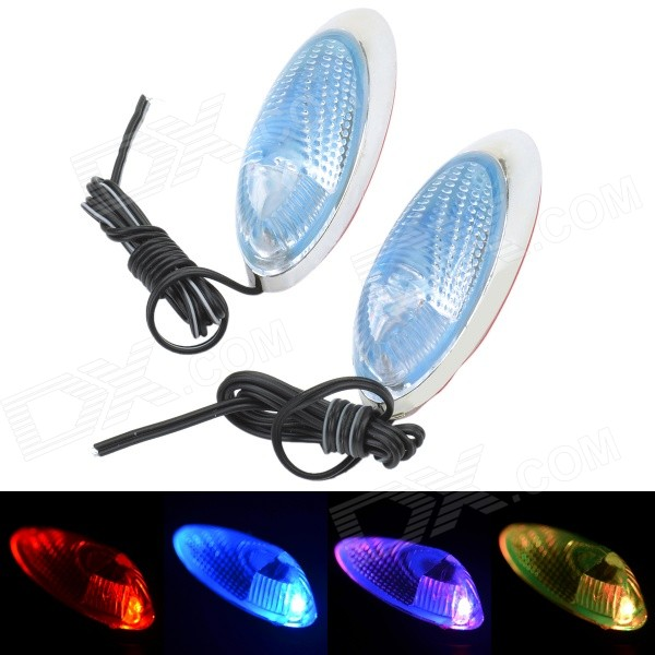 MR16 0.06W 5LM RGB Light Car Clearance Lamp - Silver + Light Blue (12V / 2 PCS) mr16 0 06w 5lm 630nm red light car clearance lamps silver red multi color 2 pcs