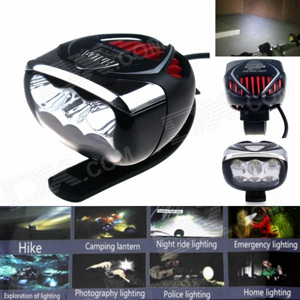 Фото ZHISHUNJIA Multi-Function 6-LED 1000lm 3-Mode White Bike Light - Black + Red (4 x 18650) mymei outdoor 90db ring alarm loud horn aluminum bicycle bike safety handlebar bell