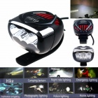 ZHISHUNJIA Multi-Function 6-LED 1000lm 3-Mode Branco Bike Light - Preto + Vermelho (4 x 18650)