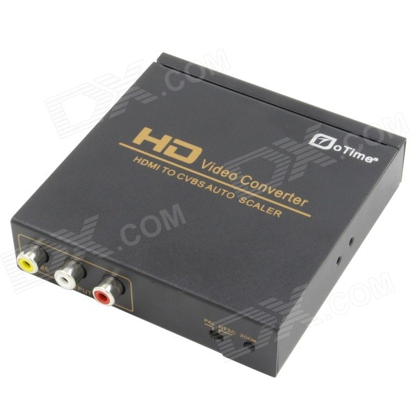 OTIME OT-10 HDMI to AV Converter / Scaler w/ Zooming 16:9 to 4:3 - Black top speed 1 to 4 hdmi splitter 1080p 4 ports output 1 4v 3d hdmi swicth 1 4 audio and video hdmi divider for ps3 tv dvd pc