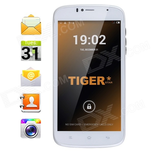 Tiger S55 Android 4.4.2 Quad-Core WCDMA Phone w/ 5.5, 8GB ROM, Bluetooth, Dual Camera, GPS - White tiger s52 android 4 4 quad core wcdma phone w 5 8gb rom bluetooth dual camera gps white eu