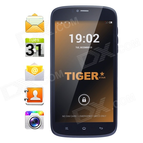 Tiger S55 Android 4.4.2 Quad-Core WCDMA Phone w/ 5.5, 8GB ROM, Bluetooth, Dual Camera, GPS - Black tiger s52 android 4 4 quad core wcdma phone w 5 8gb rom bluetooth dual camera gps white eu