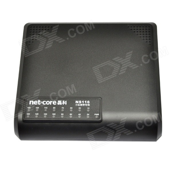 NetCore Ns116 16 portin 10M/100Mbps Fast Ethernet kytkin - musta