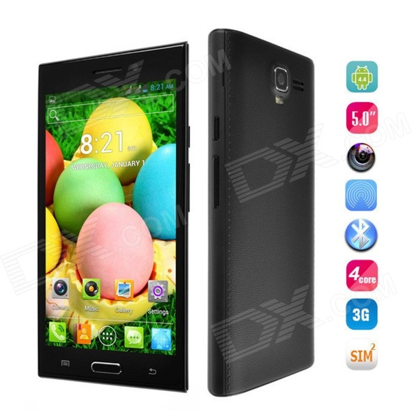 H8508 Android 4.4 Dual Core GSM Phone w/ 5'', 4GB ROM, Dual SIM, Quad-band, WiFi, BT - Black