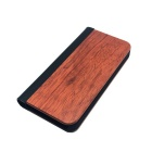 Protective PU Leather + PC + Wooden Case for IPHONE 5 / 5S - Wooden + Black