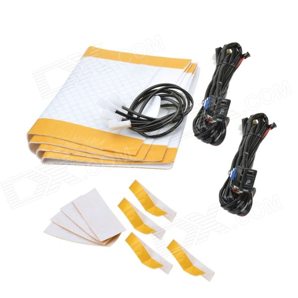 Universal Carbon Fiber Two-Seat Car Seat Heater Kit w/ 2.3M Cable Bunch - White