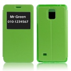 Hat-Prince Protective Case w/ Call Display + Stand for Samsung Galaxy Note 4 N9100 - Green