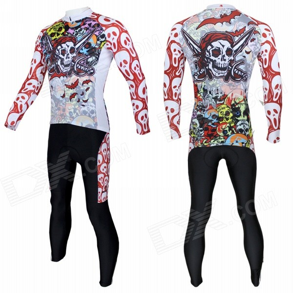 088CT-S Men's Skulls Pattern Sports Cycling Long-Sleeve Jersey + Pants Set - Red + Multicolor (S)