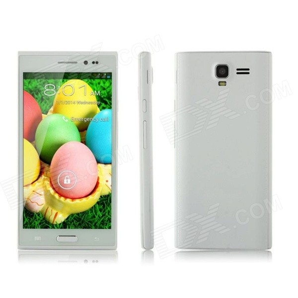 H8508 Android 4.4 Dual Core GSM Phone w/ 5'', 4GB ROM, Dual SIM, Quad-band, WiFi, BT - White