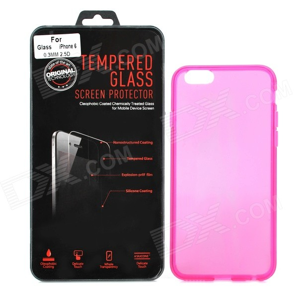 Back Case + Tempered Glass Screen Guard Set for IPHONE 6 - Deep Pink