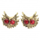 Buy Women's Fashion Owl Style Zinc Alloy Ear Studs - Golden + Red (Pair)