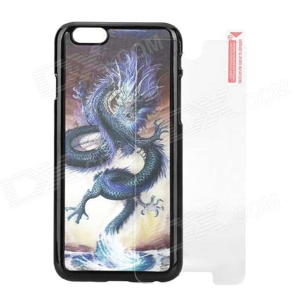 3D Dragon Pattern Protective PC + PVT Back Case + Tempered Glass Screen Protector Set for IPHONE 6 fema front back 6d colorful laser tempered glass screen films for iphone 6s plus 6 plus rainbow triangles