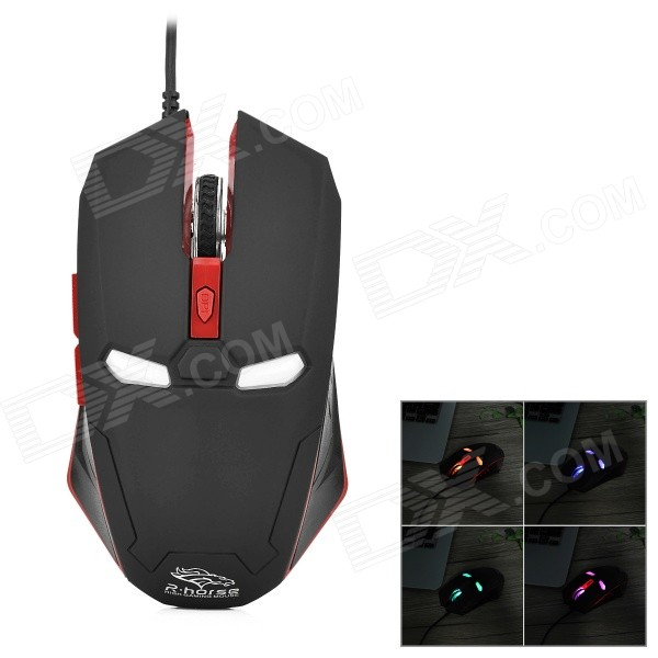R.Horse FC-1616 Stylish USB Wired 2000dpi Gaming Mouse w/ RGB LED Light - Black + Red fc 143 usb 2 0 wired 1600dpi led gaming mouse black cable 120cm