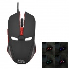 R.Horse FC-1616 Stylish USB Wired 2000dpi Gaming Mouse w/ RGB LED Light - Black + Red
