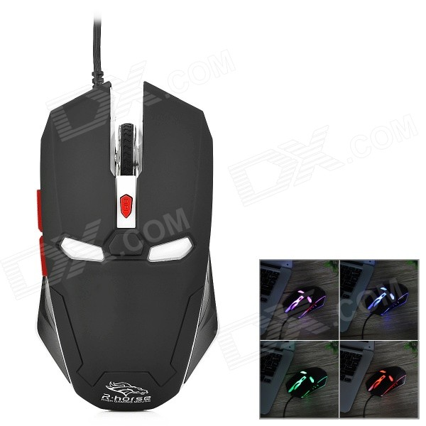 R.Horse FC-1616 Stylish USB Wired 2000dpi Gaming Mouse w/ RGB LED Light - Black + White fc 143 usb 2 0 wired 1600dpi led gaming mouse black cable 120cm