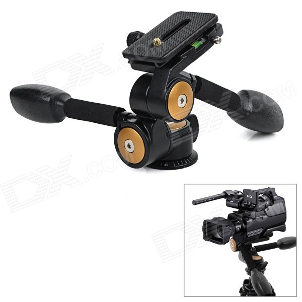 360° Two-Handle Hydraulic Damping Three-dimensional Tripod Head for Camera - Black Miami New products
