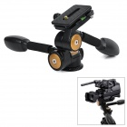 360° Two-Handle Hydraulic Damping Three-dimensional Tripod Head for Camera - Black